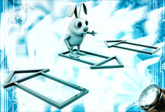 3d rabbit with colourful house selection illustration Stock Photography