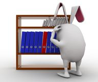 3d rabbit confused choosing file concept Royalty Free Stock Image