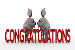 3d rabbit congratulations concept Stock Images