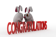 3d rabbit congratulations concept Royalty Free Stock Photography