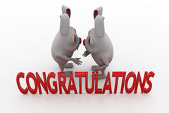 3d rabbit congratulations concept Royalty Free Stock Photos