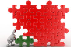 3d rabbit connect green piece in red jigsaw puzzle concept Stock Images
