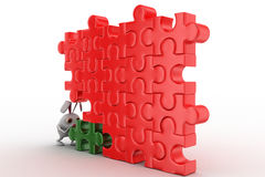 3d rabbit connect green piece in red jigsaw puzzle concept Stock Photos