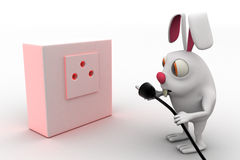 3d rabbit connect plug of bulb concept Royalty Free Stock Images