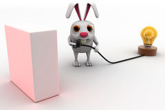 3d rabbit connect plug of bulb concept Stock Photography