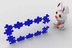 3d rabbit connect red puzzle piece in blue pieces of puzzle concept Stock Images