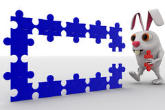 3d rabbit connect red puzzle piece in blue pieces of puzzle concept Stock Photos