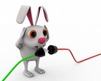 3d rabbit connect wire concept Royalty Free Stock Photos