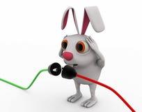 3d rabbit connect wire concept Stock Photos
