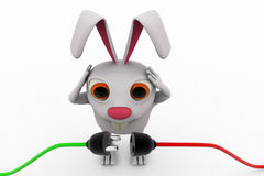 3d rabbit connect wire concept Royalty Free Stock Images