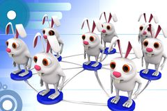 3d group of rabbit connectivity illustration Royalty Free Stock Photo