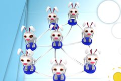 3d group of rabbit connectivity illustration Royalty Free Stock Image