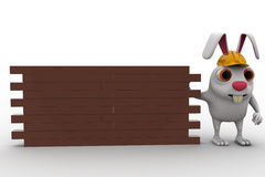 3d rabbit construction builder with brick wall concept Royalty Free Stock Photo