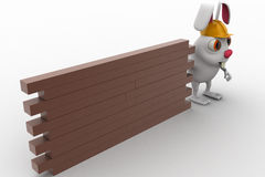 3d rabbit construction builder with brick wall concept Stock Photo