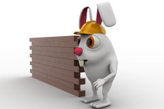 3d rabbit construction builder with brick wall concept Stock Photography