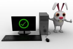 3d rabbit with correct pc concept Stock Photography