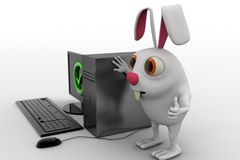 3d rabbit with correct pc concept Royalty Free Stock Image