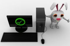 3d rabbit with correct pc concept Royalty Free Stock Photos