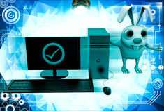 3d rabbit with correct pc illustration Stock Photography