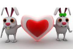 3d rabbit couple with love heart shape in between concept Stock Photos