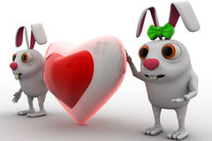 3d rabbit couple with love heart shape in between concept Stock Photography