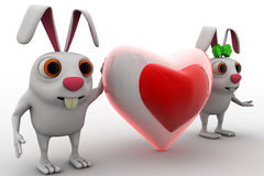 3d rabbit couple with love heart shape in between concept Royalty Free Stock Photos