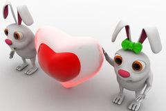 3d rabbit couple with love heart shape in between concept Royalty Free Stock Image