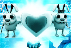 3d rabbit couple with love heart shape in between illustration Stock Photos