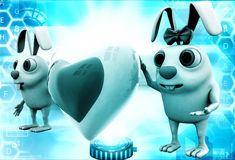 3d rabbit couple with love heart shape in between illustration Stock Photo