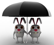 3d rabbit couple under black umbrella concept Royalty Free Stock Photos