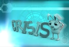 3d rabbit with crisis text illustration Stock Photography