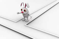 3d rabbit on cross road and can not decide between two path concept Stock Images