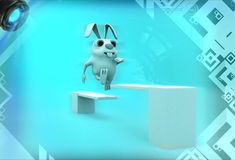 3d rabbit crossing wooden diving board illustration Royalty Free Stock Photos