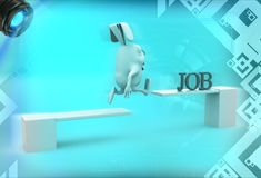 3d rabbit crossing wooden diving board with job text illustration Royalty Free Stock Images