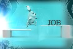 3d rabbit crossing wooden diving board with job text illustration Stock Images