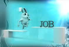 3d rabbit crossing wooden diving board with job text illustration Stock Image