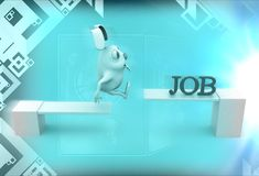3d rabbit crossing wooden diving board with job text illustration Stock Photography
