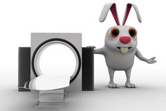 3d rabbit with ct scan machine concept Stock Photos