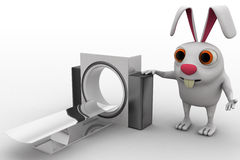 3d rabbit with ct scan machine concept Royalty Free Stock Photography