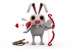 3d rabbit cupid concept Stock Photos