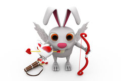 3d rabbit cupid concept Stock Photography