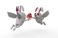 3d rabbit cupid concept Stock Image