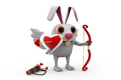3d rabbit cupid concept Royalty Free Stock Image