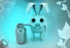 3d rabbit cylinder illustration Royalty Free Stock Image