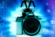 3d rabbit with digital camera illustration Royalty Free Stock Images