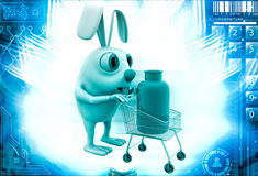 3d rabbit draw cart with gas cylinder illustration Royalty Free Stock Image
