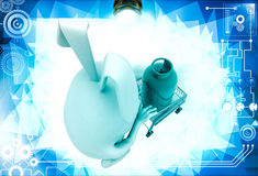 3d rabbit draw cart with gas cylinder illustration Stock Photography