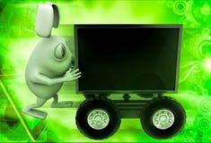3d rabbit draw television on cart illustration Stock Photography