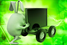 3d rabbit draw television on cart illustration Royalty Free Stock Images