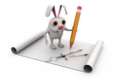 3d rabbit drawing concept Royalty Free Stock Image